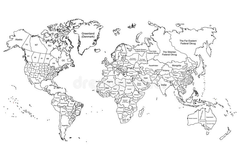 El blanco del mapa del mundo stock de ilustración