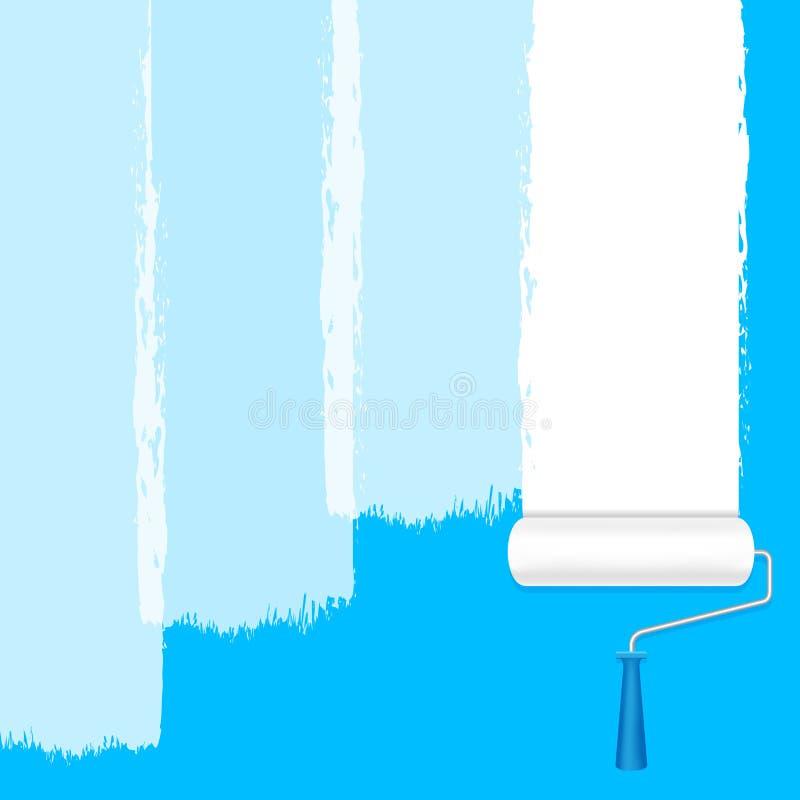 El blanco del rodillo de pintura en la pared azul para el fondo y la publicidad del texto del espacio de la copia, rodillo de la  ilustración del vector