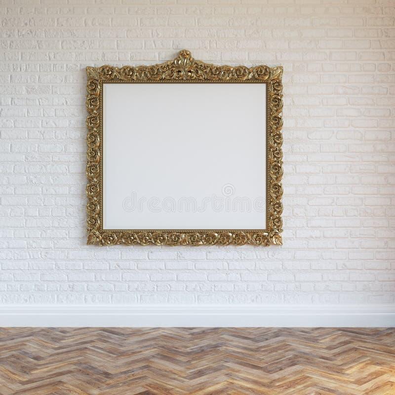 El blanco empareda el interior del ladrillo con el marco y la madera dura tallados de oro imagenes de archivo