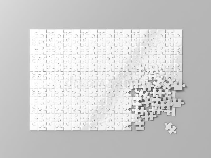 El blanco en blanco desconcierta la maqueta del juego, conectando junto, la representación 3d fotografía de archivo