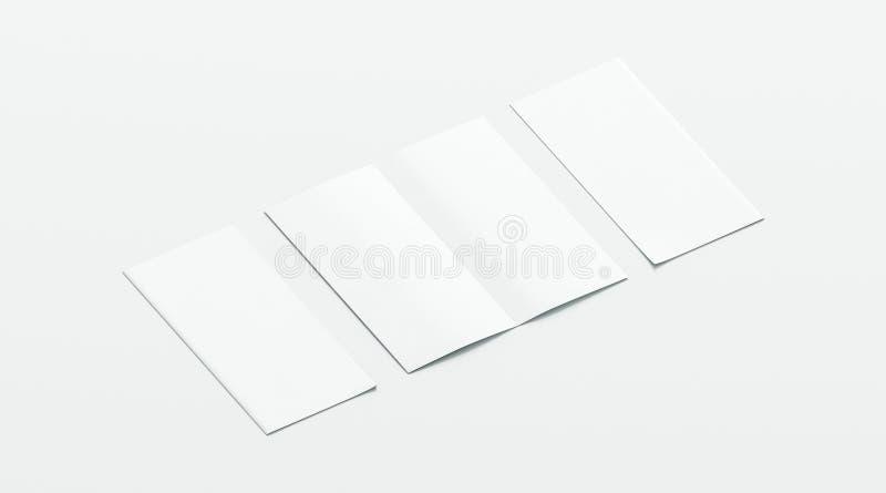 El blanco en blanco dos dobló la maqueta del folleto, abierta y cerrada stock de ilustración