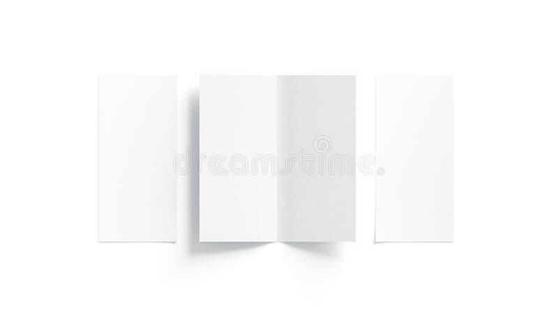 El blanco en blanco dos plegó mofa del folleto, abierto y cerrado foto de archivo
