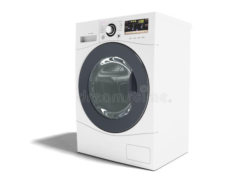 El blanco moderno de la lavadora para las cosas que se lavan 3d izquierdo rinde o ilustración del vector