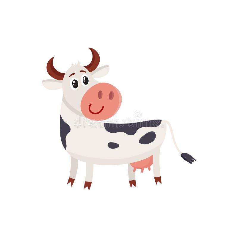 El blanco negro divertido manchó la vaca que retrocedía y que miraba stock de ilustración
