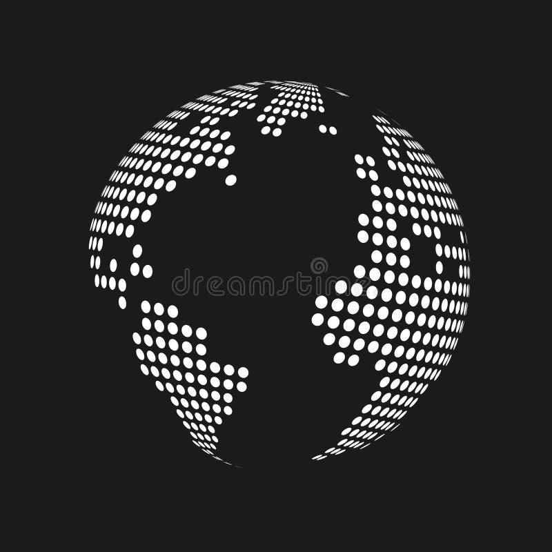 El blanco punteó el globo del mapa del mundo de la tierra 3d en fondo negro Ilustración del vector ilustración del vector
