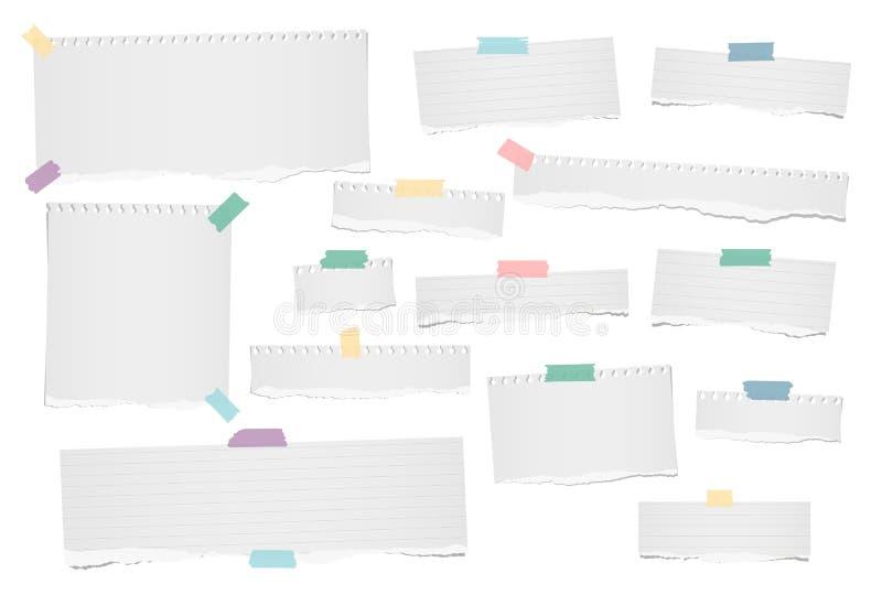 El blanco rasgó la nota en blanco, alineada, las tiras de papel del cuaderno para el texto o el mensaje pegado con el pegamento c ilustración del vector