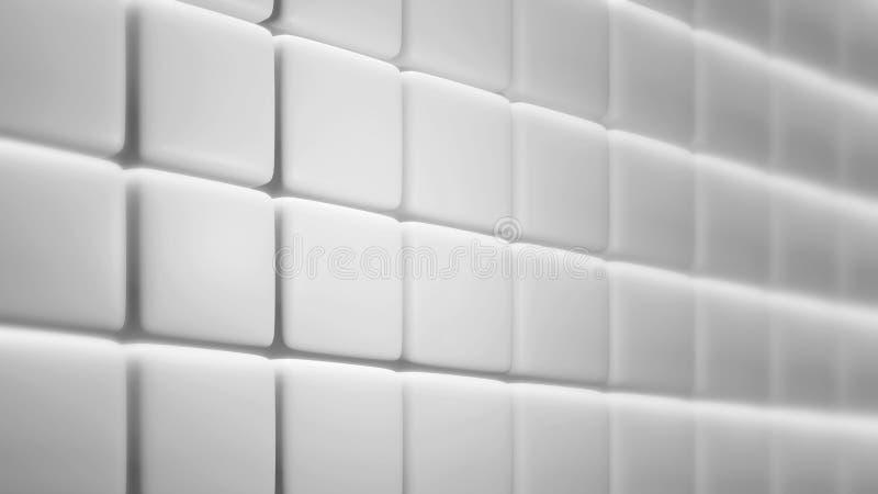 El blanco redondeó el fondo cuadrado 3d de la pared para rendir stock de ilustración