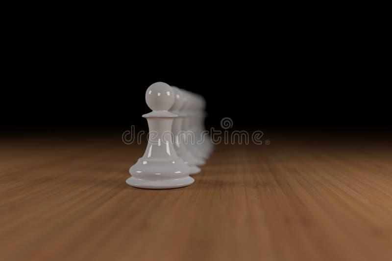 El blanco, vidrio, empeños del ajedrez se alineó en la madera foto de archivo libre de regalías