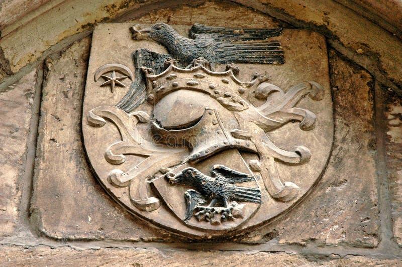 El blasón medieval de la familia real de Hunyadi (Corvin) foto de archivo
