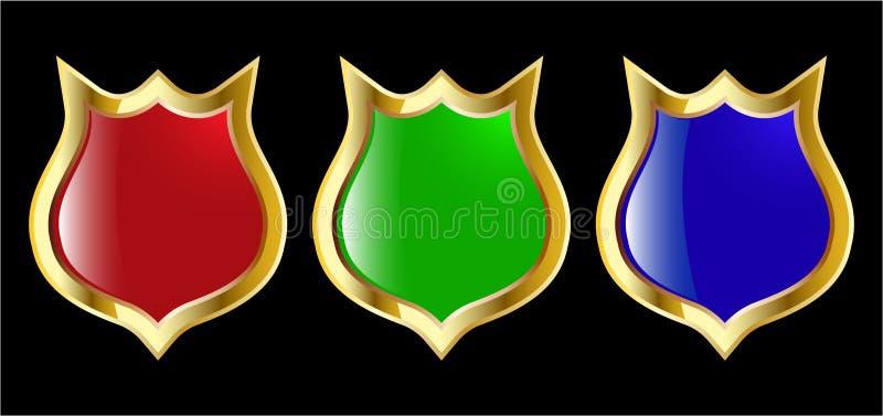 El blindaje azul del vector del conjunto y verde rojo ilustración del vector