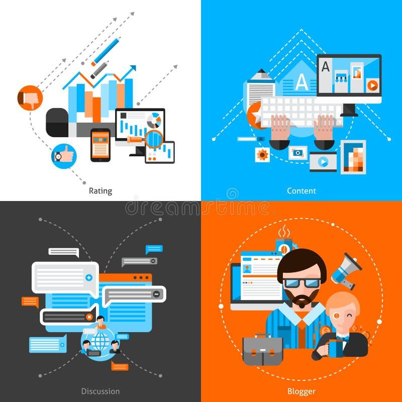 El Blogging fijado completamente ilustración del vector