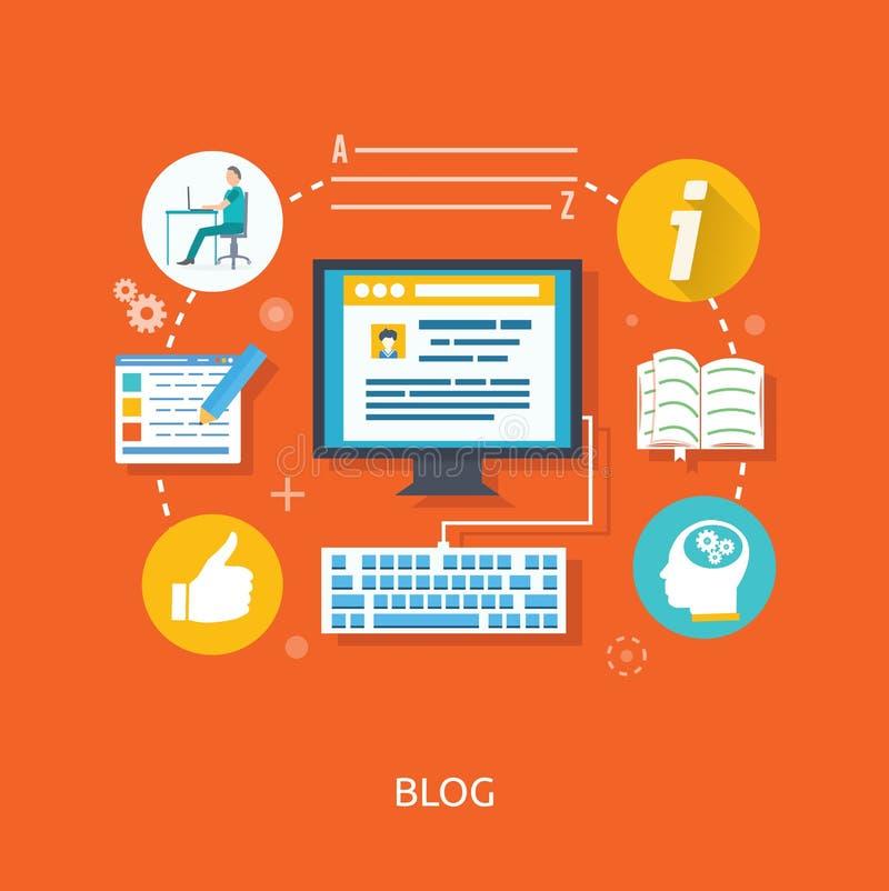 El Blogging y escritura para el sitio web libre illustration