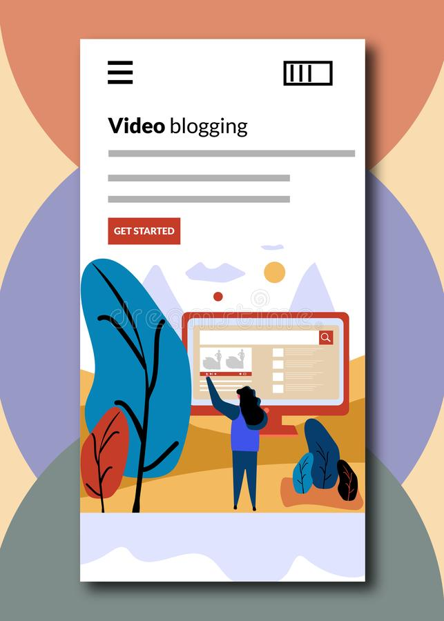 El bloguear video en las pantallas de embarque - ejemplo plano del vector del estilo stock de ilustración