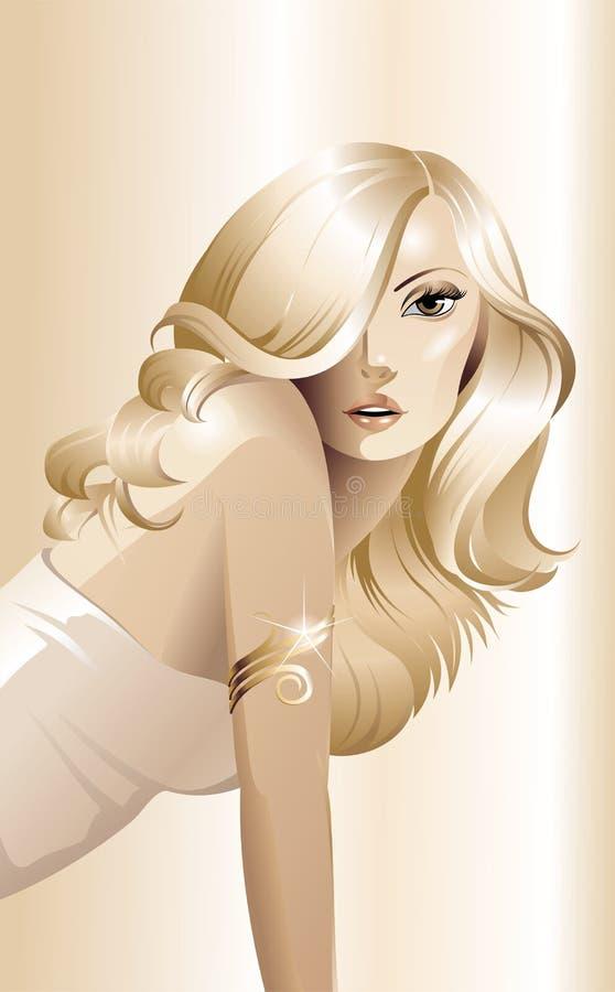 El blonde con una pulsera ilustración del vector