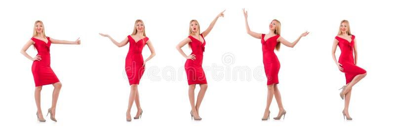 El blondie en el vestido rojo aislado en blanco imagenes de archivo