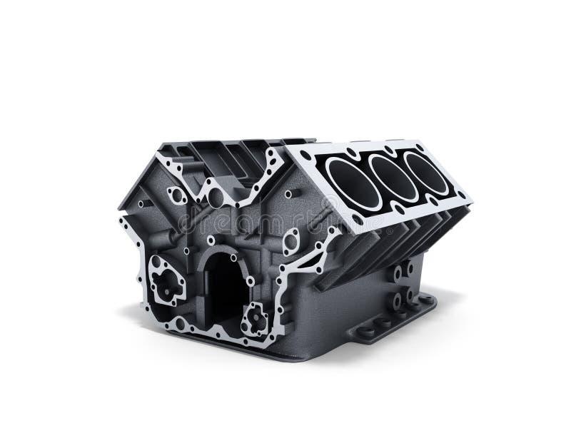 el bloque de cilindro del coche con v6 el motor 3d rinde en una parte posterior del blanco ilustración del vector