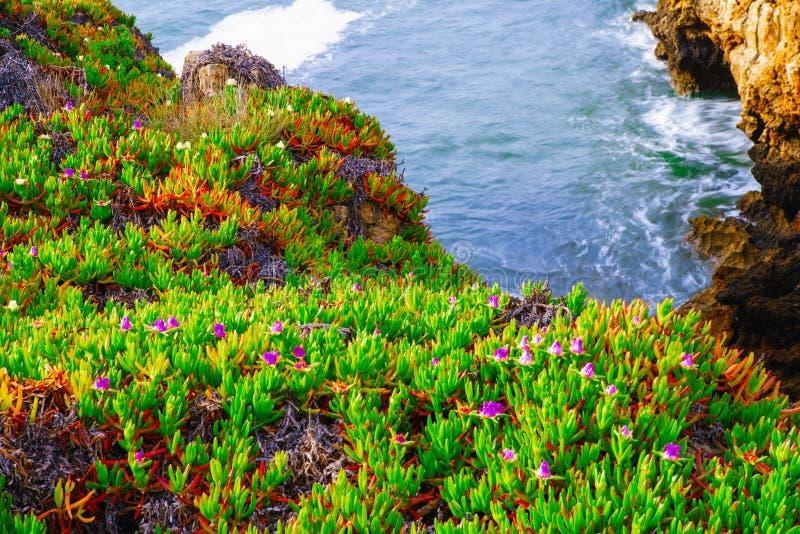 El Boca hace el infierno: formación del acantilado cerca de Cascais en Portuga foto de archivo