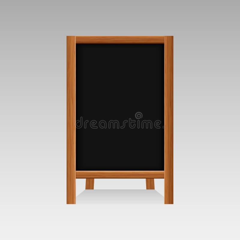 El bocadillo en blanco vacío de madera realista de la calle de la publicidad coloca tableros negros del menú de las muestras de l stock de ilustración