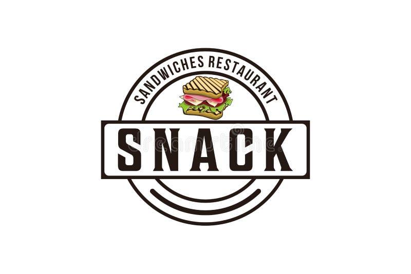 el bocado, el bocadillo con el jamón, el queso, los tomates, la lechuga, y el logotipo tostado del pan diseña la inspiración aisl stock de ilustración