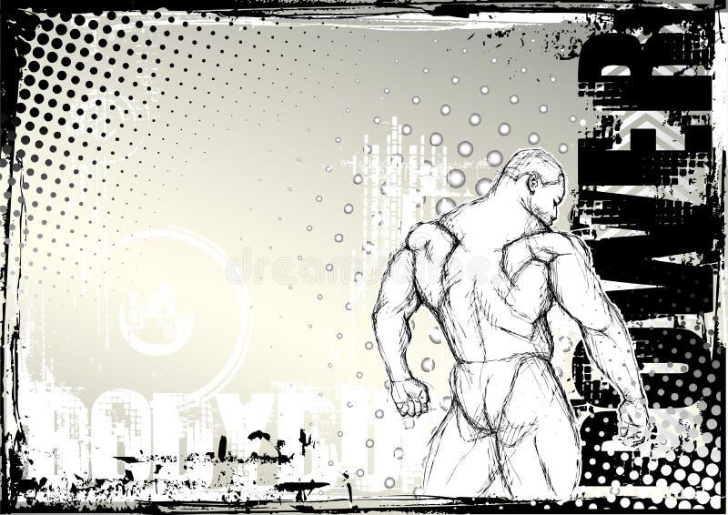 El Bodybuilding bosquejando el fondo 2 del grunge stock de ilustración