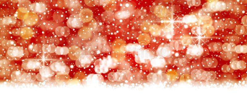 El bokeh blanco rojo, blowwn hacia fuera enciende el contexto, formato del panorama ilustración del vector