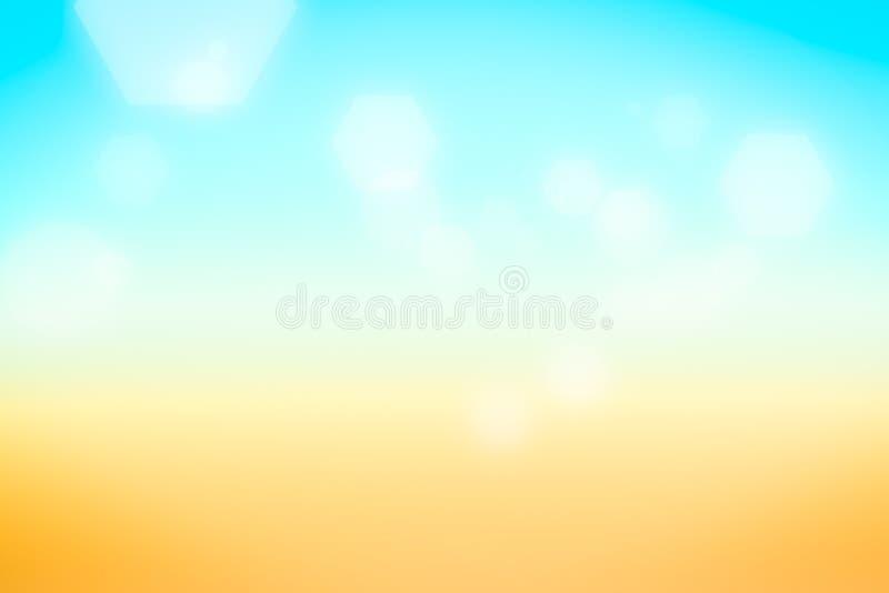 El bokeh de plata del hexágono en fondo del verano empañó la luz, Abstrac stock de ilustración