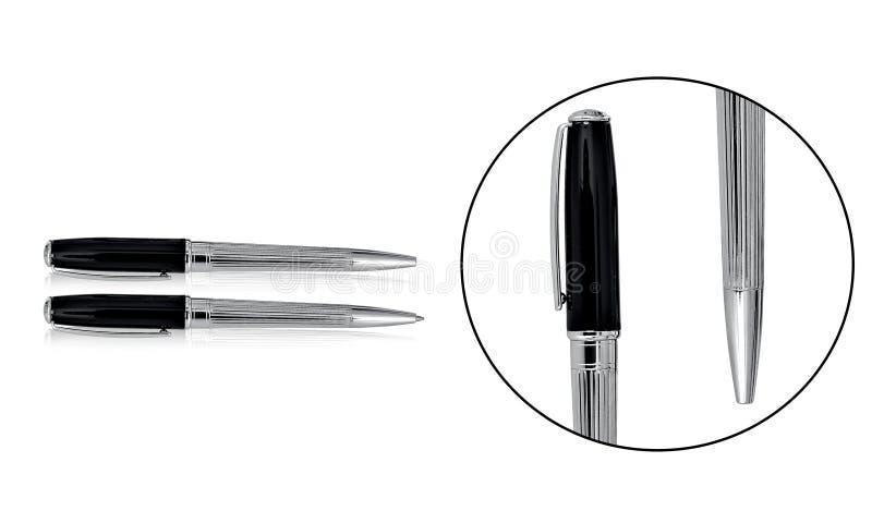 El bolígrafo superior de la calidad fija con negro y la combinación de la plata imagen de archivo libre de regalías