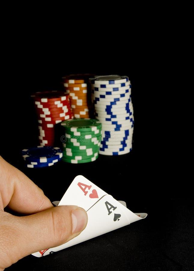 El bolsillo aces los pares para el póker del holdem imagen de archivo