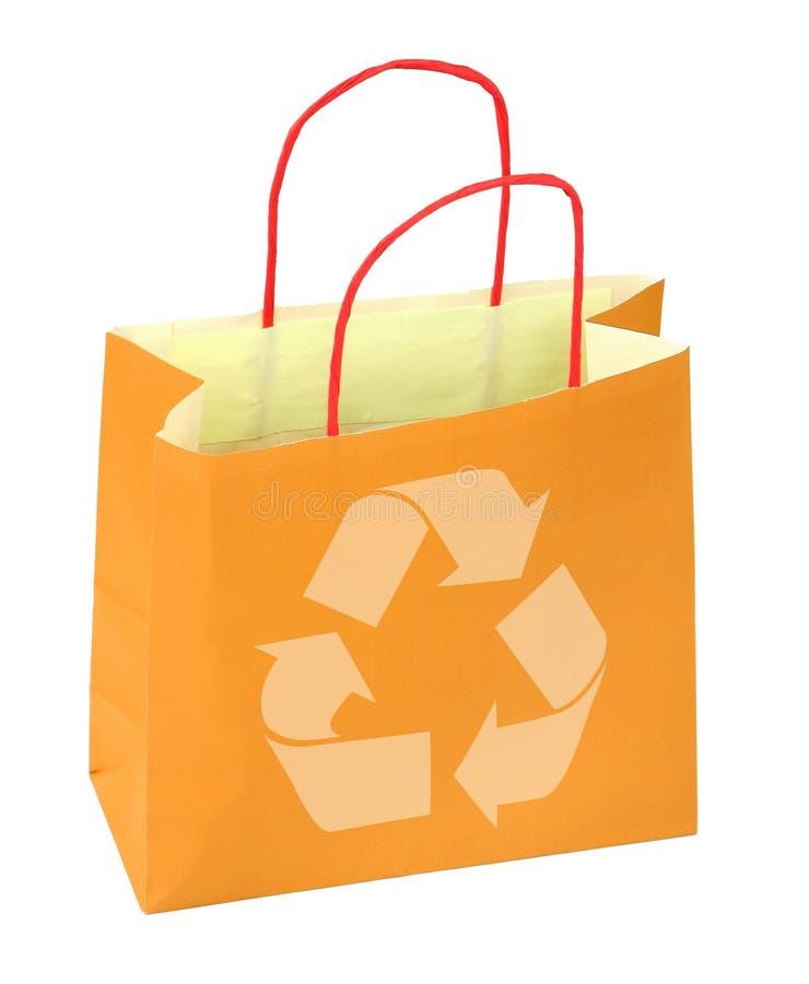 El bolso de compras con recicla símbolo fotos de archivo