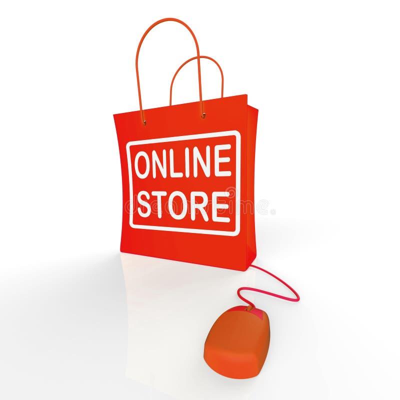 El bolso de la tienda en línea muestra compras y la compra de tiendas de Internet ilustración del vector