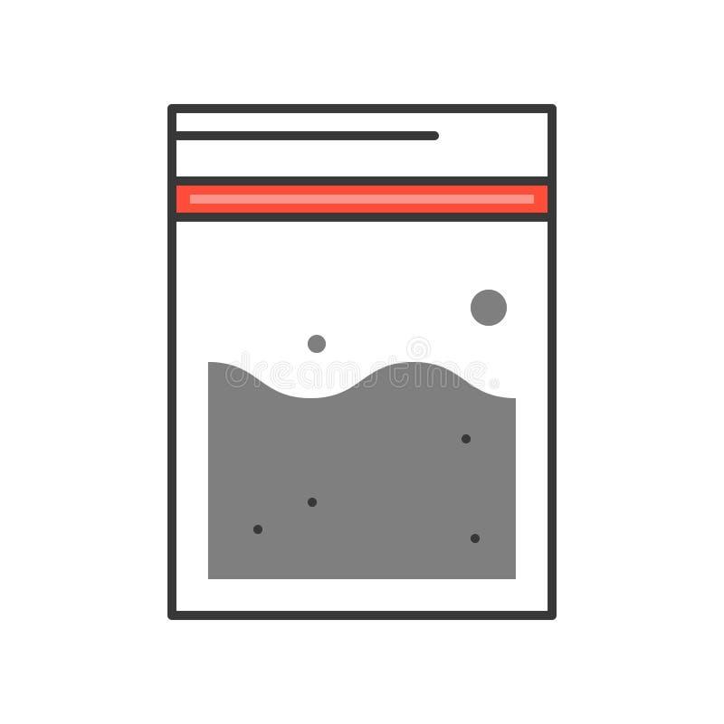 El bolso de las pruebas, policía e investigar relacionó la cigüeña editable del icono ilustración del vector