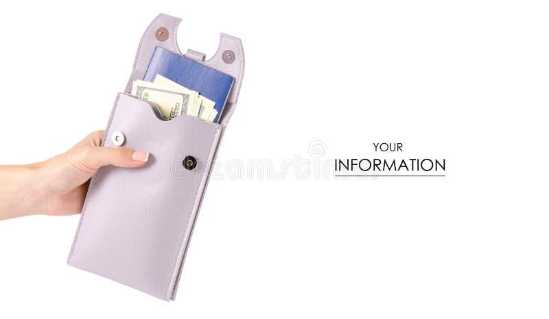 El bolso femenino para el pasaporte documenta el modelo disponible de los dólares del dinero del smartphone del teléfono móvil imágenes de archivo libres de regalías