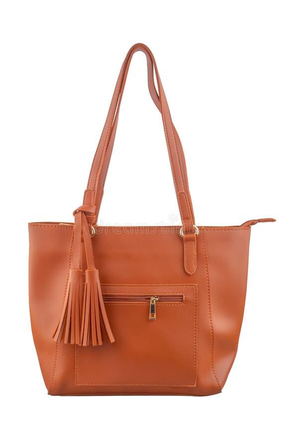El bolso marrón elegante para las mujeres, aislado en el fondo blanco, trayectoria de recortes incluyó imagen de archivo libre de regalías