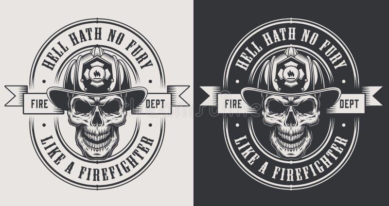 El bombero monocromático imprime la plantilla libre illustration