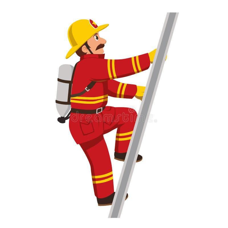 El bombero que sube las escaleras ilustración del vector
