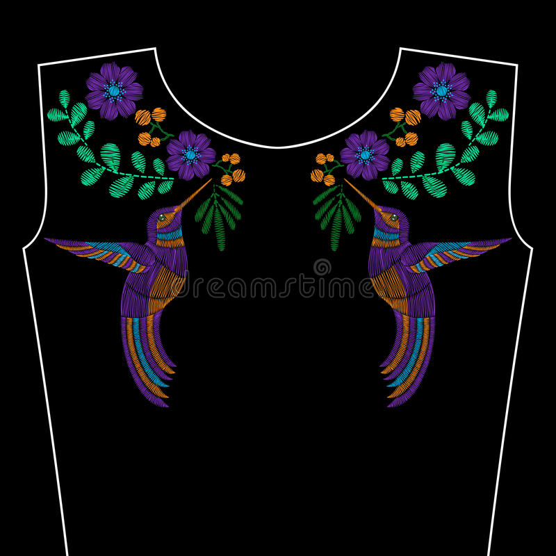El bordado cose con el colibr flores salvajes de la for Cose con la s