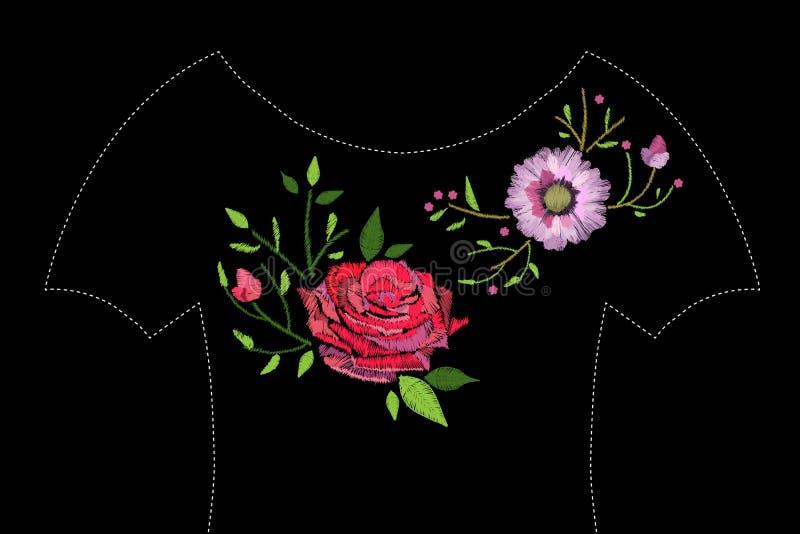 El bordado cose con el gerbera, la rosa y las hojas ilustración del vector