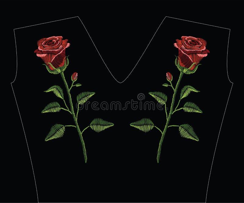 El bordado cose con la rosa del rojo y el verde se va en cuesta en colores pastel stock de ilustración
