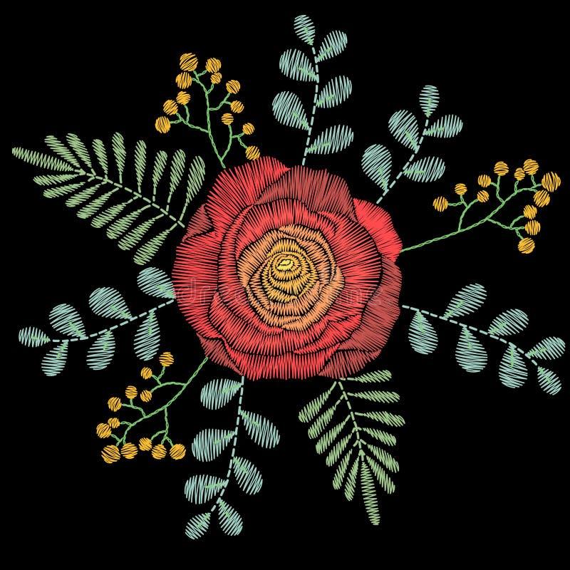 El bordado cose con las flores de la primavera, wildflowers, subió, los gras libre illustration