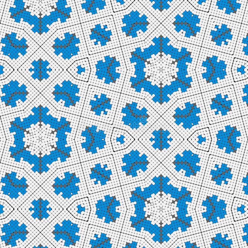El bordado cruzado azul florece en un fondo blanco del mimbre de la lona stock de ilustración