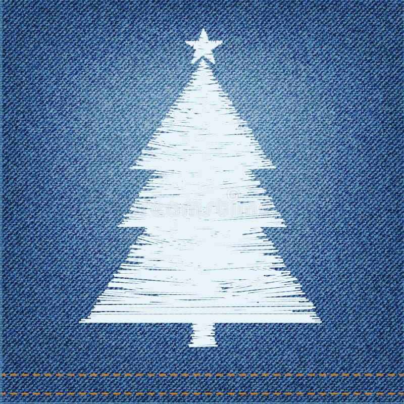 El bordado diseña el pino en fondo del dril de algodón stock de ilustración