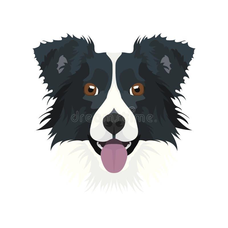 El border collie principal de perro del ejemplo ilustración del vector