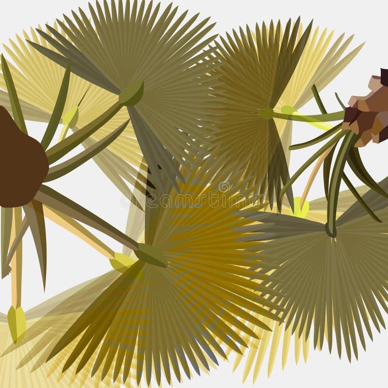 El borrachín estilizó hojas de palma de la fan en fondo ligero libre illustration