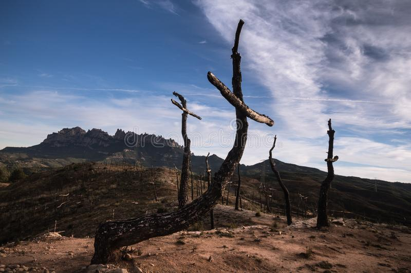The Forest of the Crosses and Montserrat royalty free stock photos