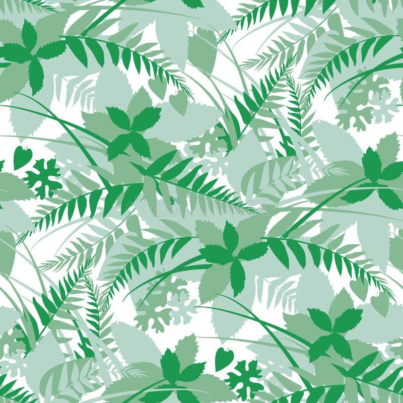 El bosque, hojas del bosque siluetea el modelo inconsútil stock de ilustración