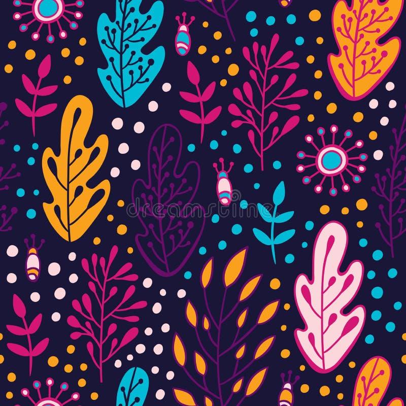 El bosque sale del modelo inconsútil Textura botánica con los elementos dibujados mano en estilo del garabato Backgroun de la pri stock de ilustración