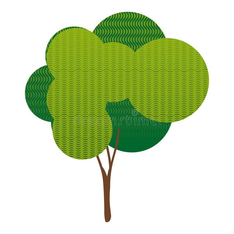el bosque verde colorido de la planta del árbol con la onda alinea stock de ilustración