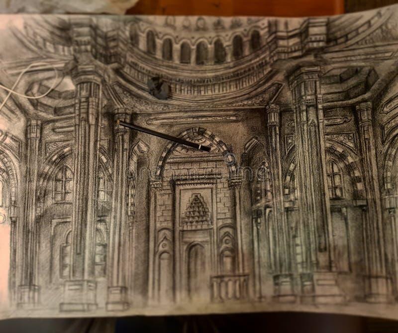 El bosquejar de la mezquita de Alnoor imagenes de archivo