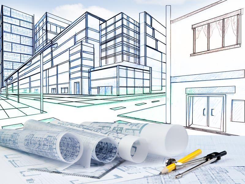 El bosquejar de la perspectiva de dos puntos del edificio en el empalme de calle libre illustration