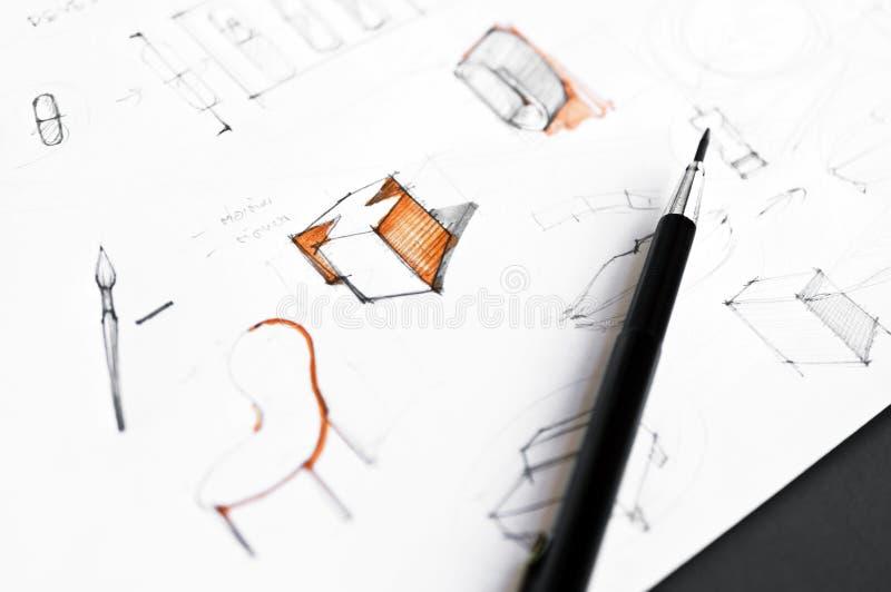 El bosquejar del concepto de la idea del diseño de producto imagenes de archivo